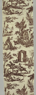 Cotton fabric printed with red showing three large vignettes with hunt scenes. First vignette shows equestrians jumping a fence; second shows figures in front of an inn; third shows the kill.