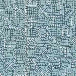 Two shades of blue with white in a mosaic pattern. White is original color of fabric.