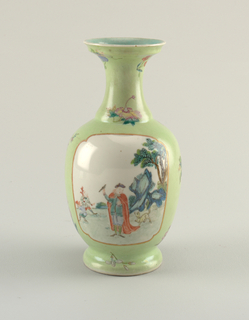 A pale green porcelain vase depicting an outdoor scene including two walking figures.