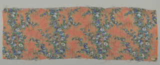 Sample of sheer orange-colored silk with a multicolored print of four vertical columns formed by solidly massed small-scale flowers. Over this, a design of scrolling lines, circles and irregular lozenges brocaded in metallic gold thread. Both selvedges present.