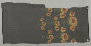 Sample in sheer solid off-white silk with a deep border design of pendant sprays of roses, printed in shades of yellow-orange with green leaves and brocaded with gold thread. Roses have dark red centers. Both selvedges present.