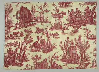 """Copy of the Jouy fabric """"Scenes Flamandes."""" The figure in the fabric face is the opposite direction as the Jouy fabric."""
