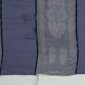 Eight samples with broad vertical stripes of alternately loosely and closely woven plain cloth, separated by narrow satin stripes. Printed over the sheer areas is an adaptation of the palmette motif. Both selvedges present on all samples.