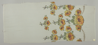 Sample in sheer solid off-white silk with a deep border design of pendant sprays of roses, printed in shades of yellow-orange with green leaves and brocaded with gold thread. Both selvedges present.