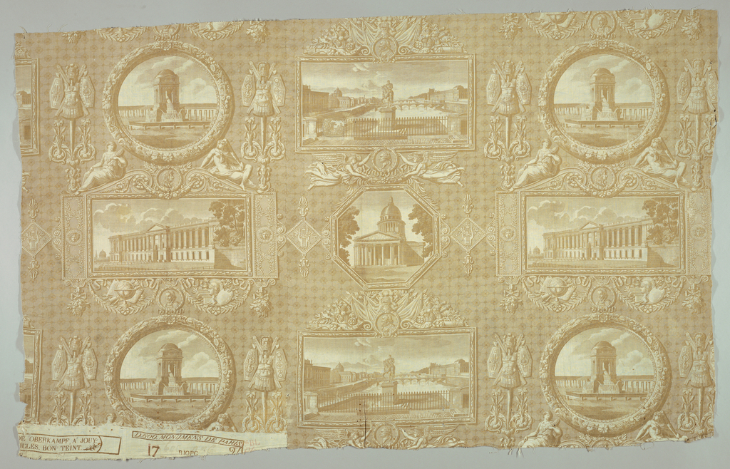 Design in pale brown on white background. Four familiar scenes of Paris: statue of Henri IV on the Pont Neuf, the Fountain of the Innocents, the Parthenon, the east front of the Louvre all in elaborate frames.
