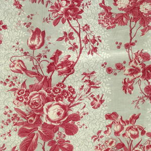 "Length of thin glazed chintz; roller printed; background in two shades of grey; flower design in two shades of strong pink, flower clusters and ascending vine. The background printed in last, as it may be seen printed over parts of the pink. Stuff is 33 1/4"" wide. Bound at one side and bottom in pink silk tape."