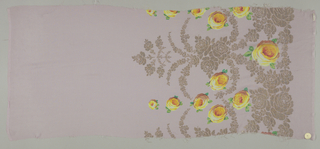 Sample of a pale purple ground has a wide border design of printed yellow-orange roses and green leaves with swags, garlands, and spires in brocaded gold thread.
