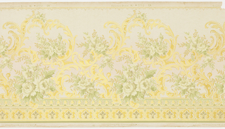 Rococo or Louis XV-style design with rose bouquets interspersed with metallic gold foliate scrolls. Double band of small foliate motifs at bottom. Printed on tan ground.