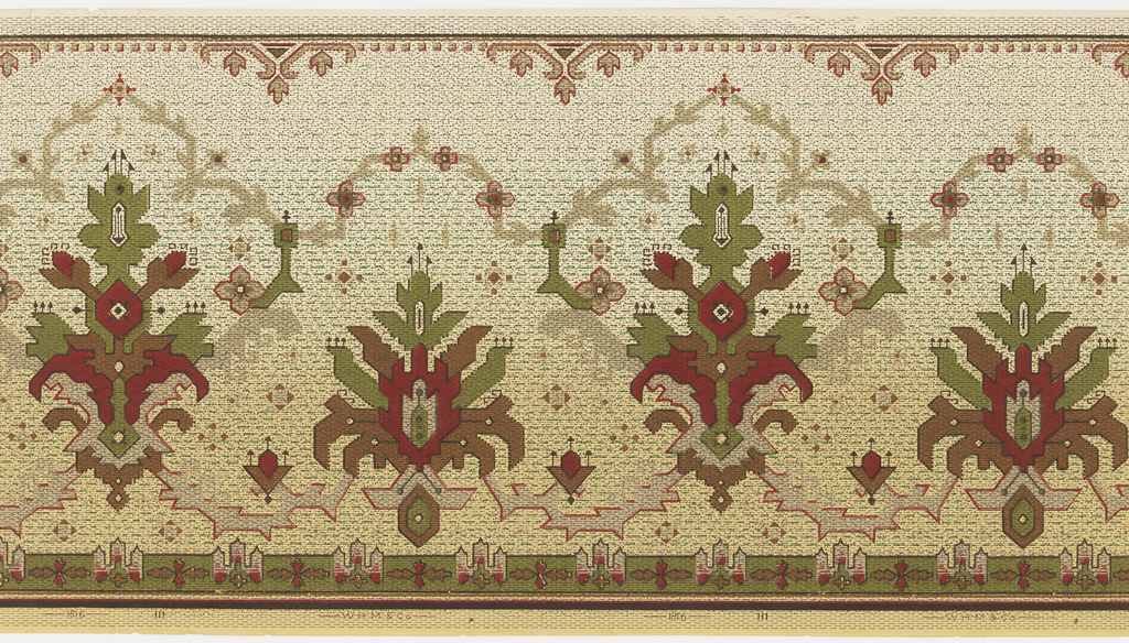 Alternating motifs, showing possibly American Indian influence. The motifs are medallion-shaped, with every second motif rising above the next. A minor band of ornament run along the top and bottom edges. The entire design is overprinted with pin dots and dashes. Printed in red, green, brown, tan and black on a background that shades from a cream-color at the top to a pale yellow-ocher at the bottom. Pattern number 1816.