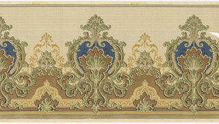Horizontal repeat of large vegetal medallions with elaborate acanthus scrollwork borders. An allover lateral herringbone pattern gives the panel the appearance of a woven textile. This design is printed in shades of green, blue, brown and gold on a beige ground.