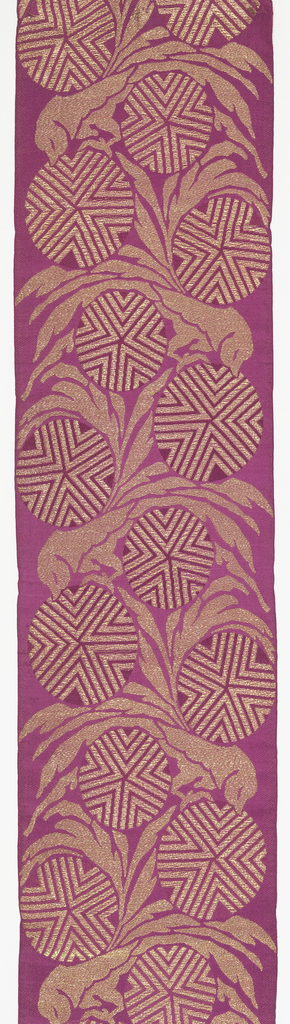 Seven samples of wide ribbon with a ground of solid color shot with metallic thread. Design has highly conventionalized foliage and round blossoms, each filled with a chevron pattern.