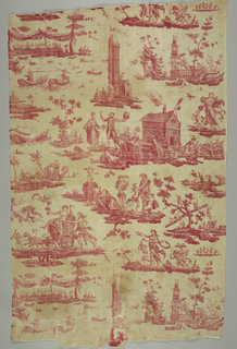 Complex and busy pattern that includes people banqueting at a dais, a man and a woman jousting from boats, a tower with a seated couple beside it, bacchus in a chariot, nymphs ornamenting a herm, chinoiserie and scenes of feasting.