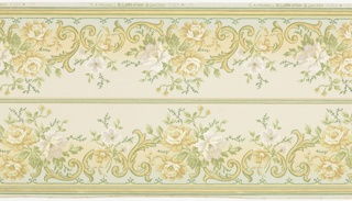 Printed two borders across the width. Each of the borders shades from greige at the center, to tan, then green at the bottom. This frieze is decorated with naturalistic grey/purple and orange/yellow peonies. Between the peonies are thick, stylistic yellow scrolls.