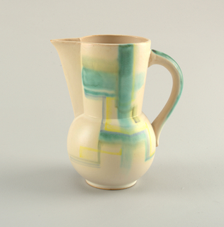 Tall jug with spherical lower footed body and straight slightly flared upper body, triangular spout, curved handle.