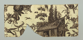 fragment (shaped as a valance) showing roof, trees, birds and fruit in sepia on white. design is wider than fabric indicating plate was engraved to print a wider fabric, such as was in use before 1774.