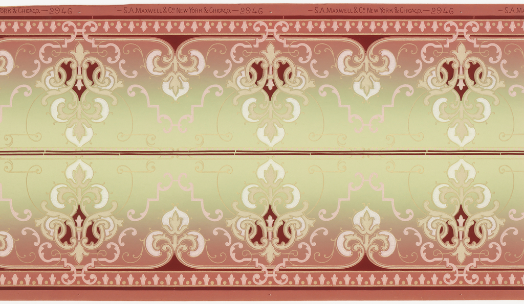 Borders printed two across (mirrored). Alternating large and small stylized floral medallions separated by pink and gold mica scroll patterns. Bottom has dark red  and gold mica stripes, with a band of pink stylized fleur-de-lis and gold mica dots. Top has discontinuous dark red line and pink dots. Grounding shades from dark pink (bottom) to light green (top). Printed in dark red, pinks, white, beige, and gold mica.