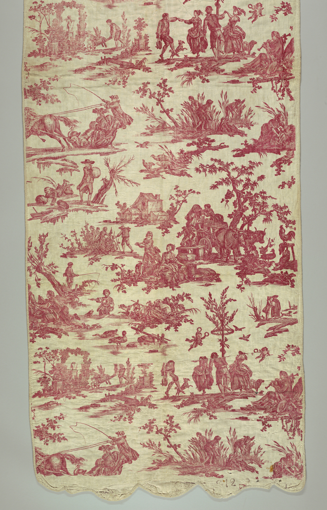 Long panel of rural scenes indicative of the four seasons of the year (skating, maypole, fishing, harvesting) in red on white. Panel bound with woven tape on both sides. Quilted.