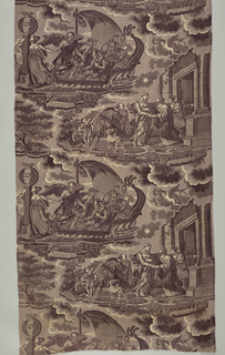 Two scenes, both captioned in French, honoring virtue and friendship. In purple on white.In one the boat (bark) of Forgetfulness is carrying away Love, Beauty (with her mirror), a king (with his scepter, crown and money), and blind Justice. Time is trying to take Friendship also vbut she clings to the pillar of 'amitie'. In the other scenes,gratitude 9grateful Memory) is welcoming Virtue to her temple.