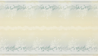 Printed two borders across the width. White floral sprigs sprouting up from band of blue acanthus scrolls along bottom. Narrow band of four white pinstripes near top, with white scrolls along top edge. Printed on tan ground that shades to blue.