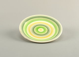 Round with concentric circles of greens and yellow.