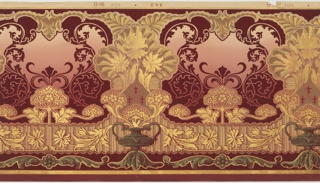 Very stylized floral motifs arising from urn. In between urns are scrolling acanthus leaves and Queen Anne's Lace. Printed in burgundy, metallic gold and green on a background that shades from light pink to deep red.