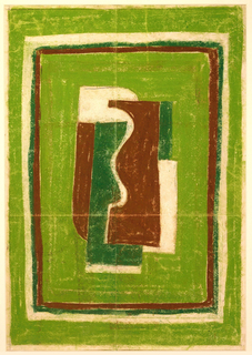 Design for rug with bright green border surrounding narrower borders in white, hunter green, and brown. At center, abstract, cubist composition with shapes in white, brown, and hunter green against bright green ground.