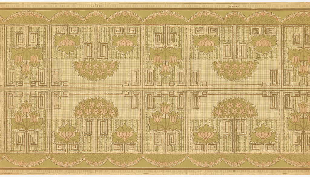 Mission style. Border printed two across the width. Alternating rectangular shapes with stylized floral and geometric patterns (key patterns and other geometric designs). The flowers in the smaller rectangles are a set of three tulips and in the larger rectangles are flowering bushes set above two large flowers. The bottom has a scalop design with floral bushes.All forms are outlined in beading. Ungrounded and covered in a grid. Printed in pink liquid mica, green and brown.