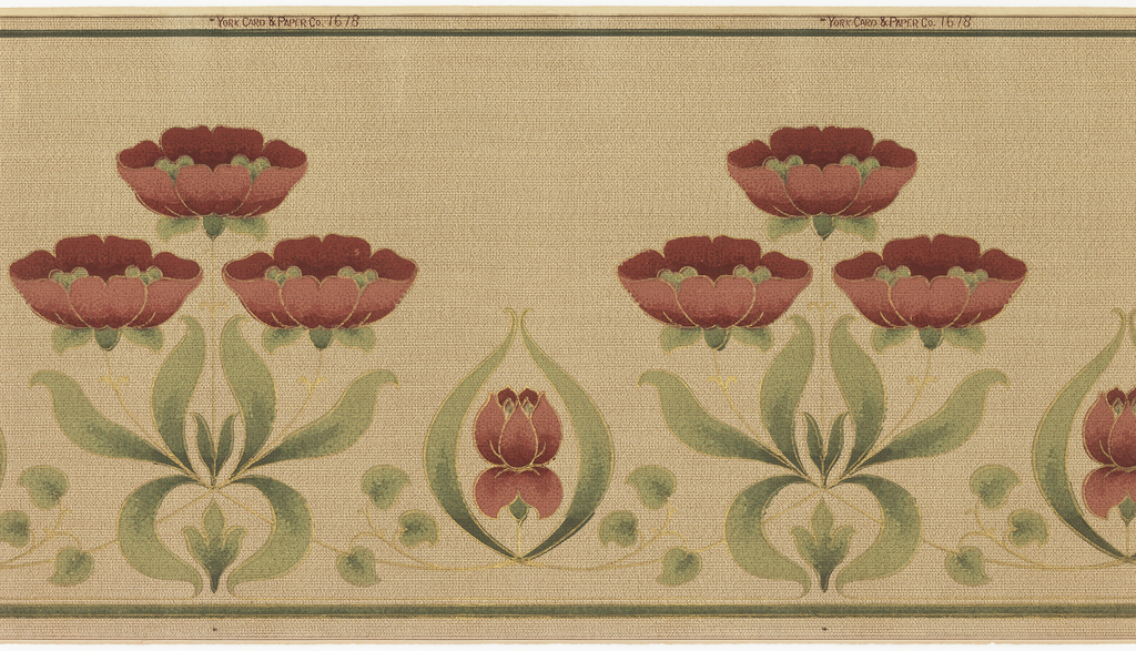 Horizontally repeating pattern of stylized poppy blossoms. Groups of three large poppies alternate with one single bud. Pattern is machine-printed in gold, greens, and reds on a tan ground. An allover-stipple pattern creates the effect of a woven textile.