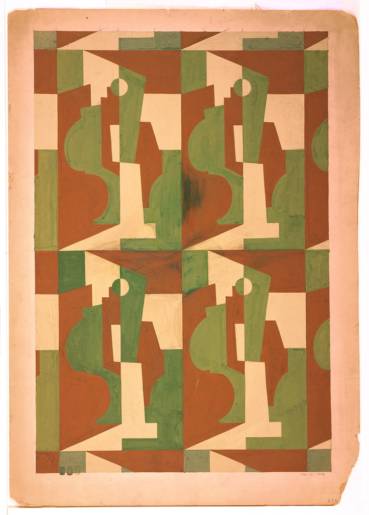 Design with repeating cubist still-life set within upright rectangles.