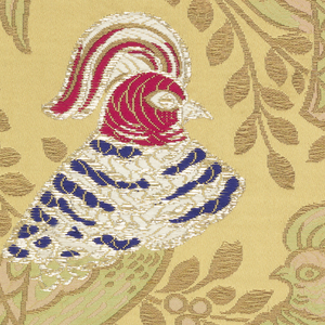 Three samples of wide ribbon with a satin ground. Design of slender branches with perching fantastic birds with high crested heads. Design partly in main wefts, partly in secondary gold weft and partly brocaded in multicolored silks and flat strips of silver.