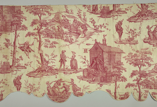 Valance  made of one complete width and three incomplete widths of the pattern.  Design of grape gatherers, dancers, an inn, a bewigged gentleman in a swing and another bewigged gentleman holding a bottle and lying under a tree.