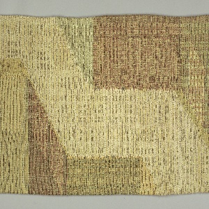 Long vertical hanging with an abstracted street scene woven in greens, brown, gold and natural.