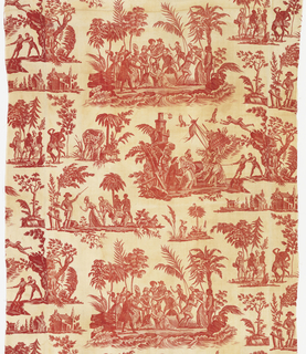 A series of pictorial vignettes illustrating the story of Paul and Virginia as originally told in the novel by Bernadin de St-Pierre (1788) and later in an opera (which changed the ending of the original story) by Kreutzer and Favieres (1791). Scenes include a shipwreck and scenes on a tropical island. In red on white.