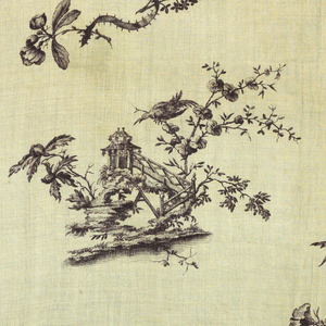 Chinoiserie scenes and ribbons with flowers. In off-black on white.