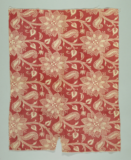Large flowers and diagonally moving stems. Pattern reserved (white) in printed red.