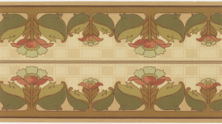 Border printed two across the width. Alternating large and medium stylized flowers with large leaves and stems that attach to the bottom border. Background of white vermiculation and tan and beige checkerboard-like pattern. Tan ground. Printed in greens, tans, browns and pinks.