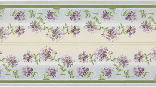 Borders printed two across the width (not mirrored). Repeating vines with clusters of small purple flowers. Top and bottom have thin and thick white liquid mica and green stripes. Grounding is shaded from light blue (bottom) to cream (top). Background of liquid white mica bands and scroll- and fleur-de-lys motif. 