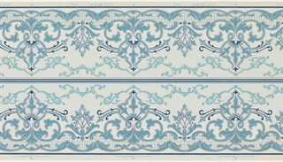 Borders pritned two across the width. Alternating taller and shorter foliate medallions, connected by foliate scolls along top. Printed in shades of blue on blue ground.