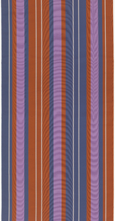Vertically-striped wide moiré ribbon in orange, violet, blue, and white.