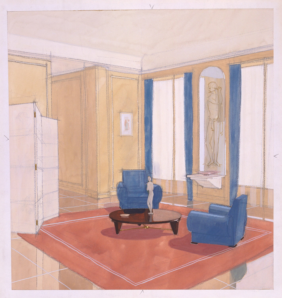Interior of a room with yellow walls, cream ceiling, and tiled floor.  At left white folding screen.  Right wall has two windows with blue curtains and long statue niche between them.  In center of room is mauve area carpet.  Two blue chairs placed at angles to one another on carpet.  At center of carpet is low wooden round table with statuette on top.