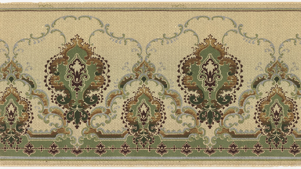 Horizontal repeat of alternating large and small vegetal medallions surrounded by rococo inspired borders of foliate c scrolls and dark red, beaded garlands. The bottom edge of the panel is bordered with a row of highly stylized dark red blossoms, and the top of the panel is bordered by plain brown and blue stripes. An allover pattern of tiny, interlocking dots gives the panel the appearance of a cross-stitched embroidery. This design was printed in shades of dark red, green, light blue, and brown on a beige ground.