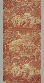 "Two full width scenes; one of people at a country dance, the other a group of villagers traveling. The scenes illustrate episodes in Oliver Goldsmith's ""The deserted Village"". In red on white."
