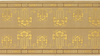 Printed two across. Stylized foliate medallions, alternating large and small, printed in metallic gold. Beading across top with broken band of squares and foliage along bottom edge. Printed on tan ground.