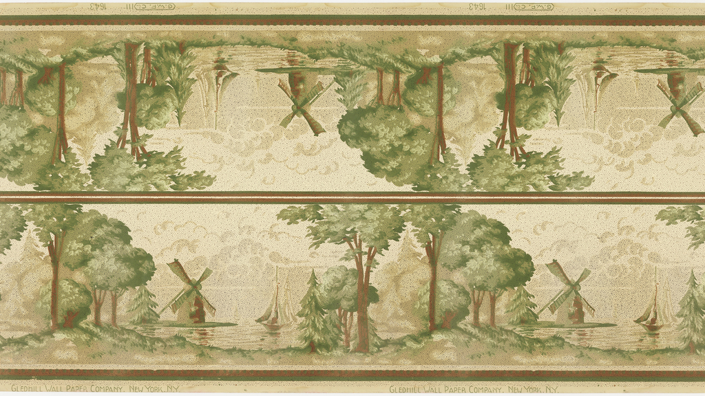 """Landscape frieze printed two across. Alternating group of trees on land and sailboats on water, with windmills. Bottom is bordered with brown and green stripes with green dentil and beading pattern. Top is bordered with brown and green stripes. Clouds in the background. Printed in brown and green. Whole pattern in covered in black dots. Grounding is light greenish beige. Slight staining and water damage. Printed in selvedge: """"G. W. P. Co. 111  1643"""" """"Gledhill Wall Paper Company. New York. N. Y."""""""