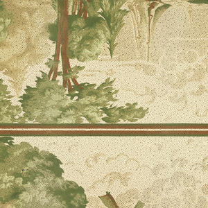 Landscape frieze printed two across. Alternating group of trees on land and sailboats on water, with windmills. Bottom is bordered with brown and green stripes with green dentil and beading pattern. Top is bordered with brown and green stripes. Clouds in the background. Printed in brown and green. Whole pattern in covered in black dots. Grounding is light greenish beige. Slight staining and water damage.