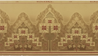Highly stylized square flowers arranged in alternating step-down triangles of seven and three blossoms. The triangles repeat horizontal atop a striped and beaded edge that borders the bottom of the panel. A Moresque border follows the top of the pyramids, and is filled with a cross-hatch pattern. This design is printed in shades of brown, dark red and beige on a tan background.