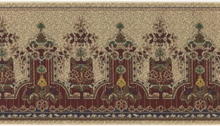 """Aesthetic movement-inspired frieze features a horizontal repeat of highly stylized, geometric floral elements.  The top edge of the panel is decorated with thin lines and a beaded border. An area of beige background extends downward from the top edge, ending with a sort of """"cut cardwork"""" border. Extending up from the bottom edge of the panel is an area of dark red, with thin vertical stripes, which interlocks with the beige border. A stripe of dark blue with a pattern of geometric whit shapes runs along the bottom edge of the panel. An allover grid pattern made of tiny, wiggly lines adds texture. This pattern was printed in shades of red, yellow, blue, green and brown on a beige ground."""