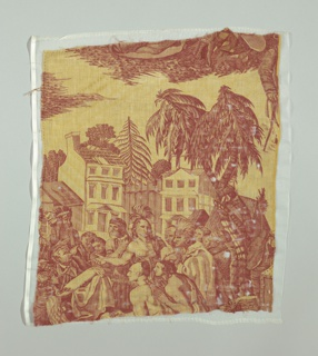 Textile fragment showing an urban scene with Native American trading with Europeans.
