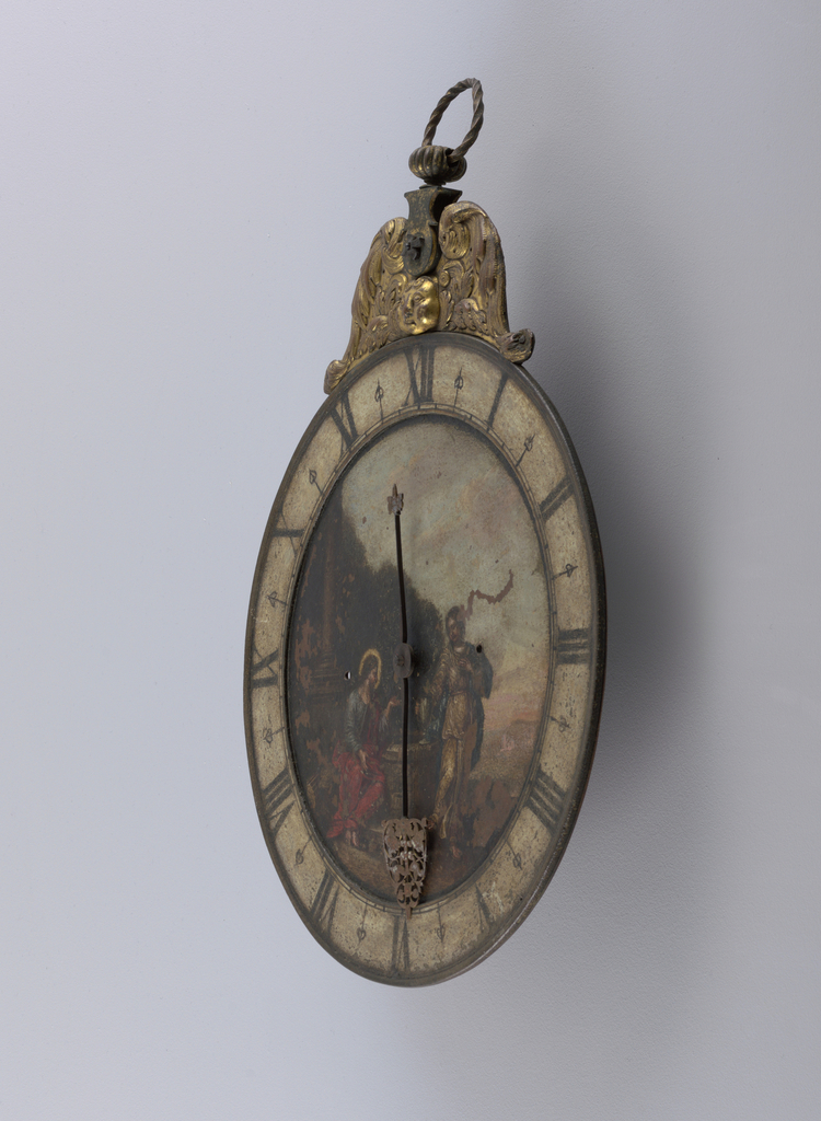 Iron clock face painted with scene from 4:4-26 in the Gospel of John, where Christ meets a Samaritan woman at the well. Hours marked by Roman numerals. Scrolling openwork on the hour hand. Above the clock face is a gilded cherub.