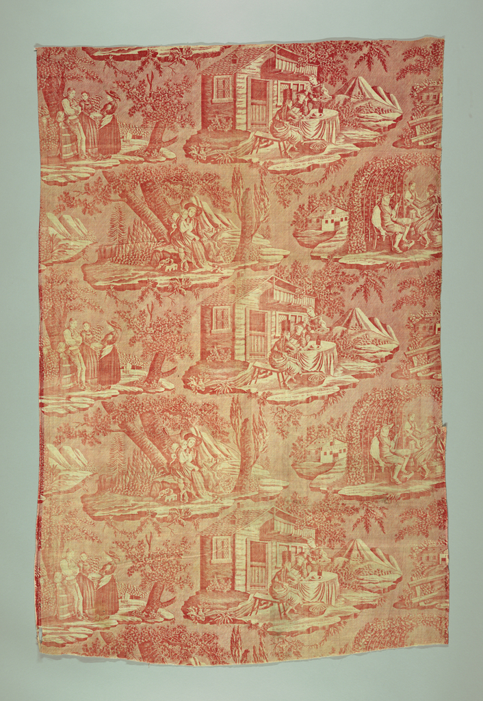 Four scenes, captioned in French, illustrating love and marriage in Switzerland. In red on white.